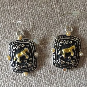 Horse earrings costume pieced wire type